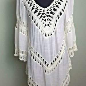 Simply CoutureSmall Sheer Gauze Dress Crocheted D